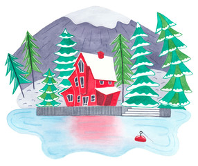 Cute Red lakehouse in mountain forest. Watercolour illustration. Nice house in the woods. House at the lake