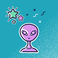 The head of an alien and a star. Vector icons, illustration