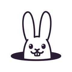 Cute cartoon rabbit in hole