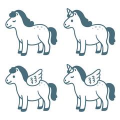 Cute cartoon pony set