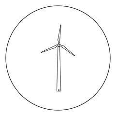 Wind turbine icon black color in circle