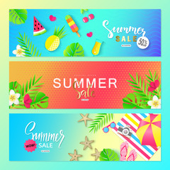 Summer sale. Vector set horizontal banners with summer elements. Backgrounds for posters, email and newsletter designs, ads, coupons, promotional material.