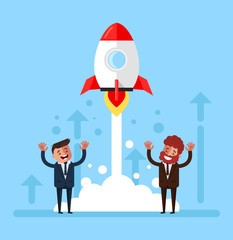 Happy smiling group of people businessmen office workers managers starting rocket. Start up new project concept. Vector flat cartoon graphic design isolated illustration