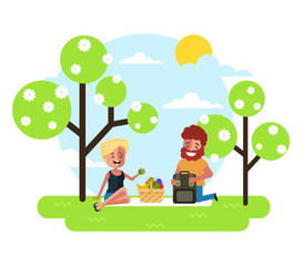 Happy smiling man woman character couple have dating picnic lunch meal eating on nature in park. Vacations countryside summer time. Vector flat cartoon graphic design illustration