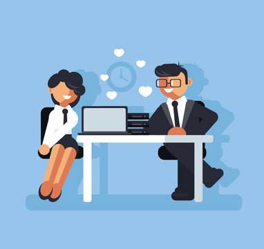 Two business people man and woman character falling in love at work. Corporate romance concept. Vector flat cartoon graphic design isolated illustration
