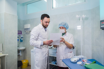 Healthcare: Doctor and patient discussing blood-test results