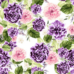 Beautiful watercolor pattern with flowers rose and eucalyptus, leaves, lavender.