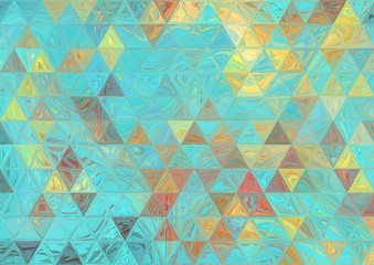 Turquoise and gold faded triangles texture. Abstract wallpaper. Creative pattern for any printed production, print on fabric, canvas, paper and ceramic. Template for decoration of design products.