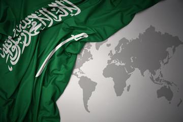 waving colorful national flag of saudi arabia.