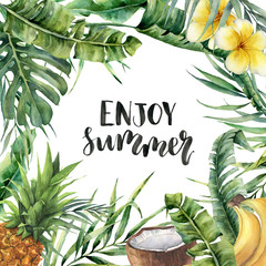 Watercolor Enjoy summer card. Hand painted floral illustration with banana and coconut palm branches, plumeria, coconut, pineapple isolated on white background for designor print.