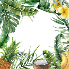 Watercolor tropical frame with exotic leaves, fruit and flowers. Hand painted floral illustration with banana and coconut palm branches, plumeria, pineapple isolated on white background for design