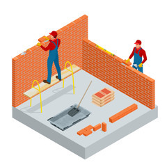 Isometric industrial worker building exterior walls, using hammer and level for laying bricks in cement. Construction building industry, new home. Workers with tools vector illustration.