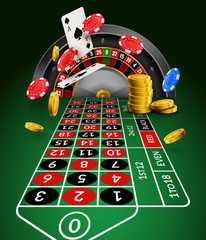 Casino roulette table perspective illustration. Green gambling roulette table with numbers play cards coins and chips
