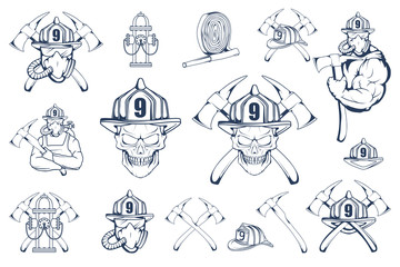 Set of firefighter emblems and elements. Firefighting logo. The fireman's head in a mask. Fire department label. Vector graphics to design.