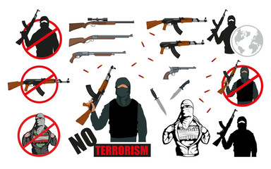 Set of world terror illustration.Weapon set. Stop Terrorism concept. Vector graphics to design.