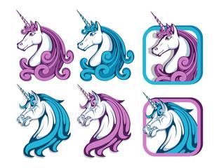Unicorn set. Cartoon unicorn head. Magic animal. Vector graphics to design.