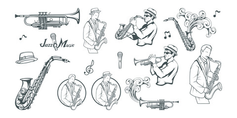 Jazz set. Saxophone player. Lettering with a microphone. Silhouette of a musician Vector graphics to design.