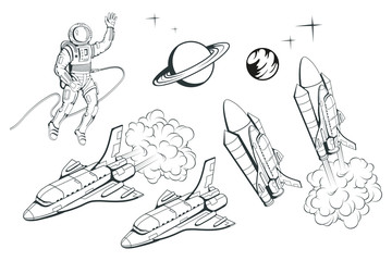 Set of illustrations on a space theme. Space shuttle. Hand drawn spaceship. Space travel through the Galaxy. Vector graphics to design.