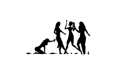 Four Girl, woman, lady drinking. Drunk people, drunk party event, vector silhouettes icon, sign, illustration on white background
