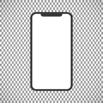 Realistic White Slim Smartphone isolated on Transparent Background. New Version. Front and Rear View Display. High Detailed Device Mockup Separate Groups and Layers. Easily Editable Vector.