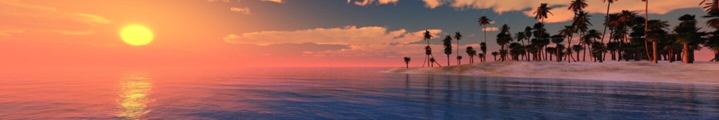 sunset on a tropical beach with palm trees, sunrise on an ocean shore, panorama, 3D rendering