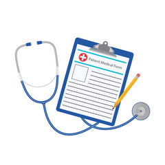 Vector illustration. Medical record concept with stethoscope,clipboard and pensil.