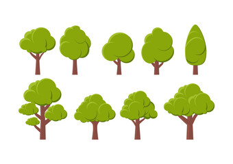 Vector illustration. Set of different trees on a white background.