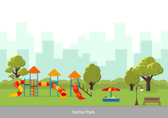 Vector illustration. Playground with slide and sandbox.