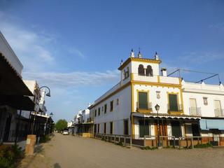 El Rocío,aldea de Almonte en Huelva, Andalucía (España) junto a Doñana donde se celebra la peregrinación mariana de la Romería del Rocío