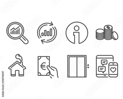 Set of Lift, Update data and Banking money icons  Data