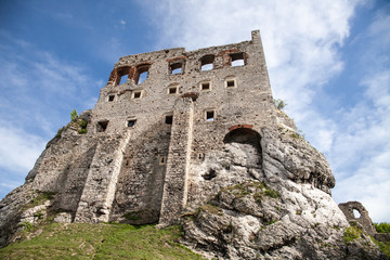 Ogrodzieniec, Podzamcze / Poland - May 5, 2018: Old castle wall in the village Podzamcze. Ruins of the castle on the upland, Jura Krakowsko-Czestochowska. The Trail of the Eagle's Nests.