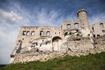 Ogrodzieniec, Podzamcze / Poland - May 5, 2018: Ogrodzieniec Castle in the village Podzamcze. Ruins of the castle on the upland, Jura Krakowsko-Czestochowska. The Trail of the Eagle's Nests.