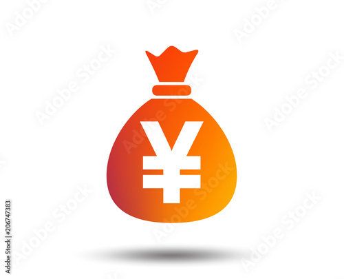Money Bag Sign Icon Yen Jpy Currency Symbol Blurred Gradient
