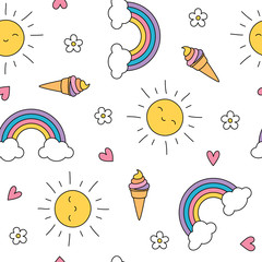 Cute pastel seamless pattern with ice cream, sun, flowers and rainbows