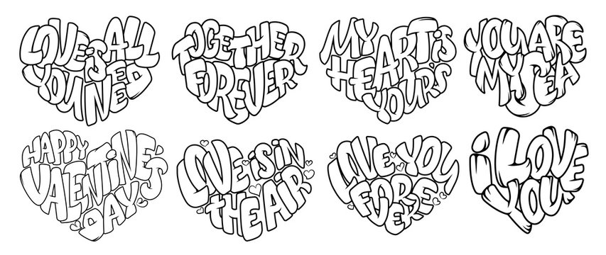 Coloring pages for Adult. Design for wedding invitations and Valentine's Day, lettering in heart. Quote about love in bubble style
