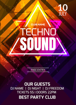 Techno sound music party template, dance party flyer, brochure. Party club creative banner or poster for DJ