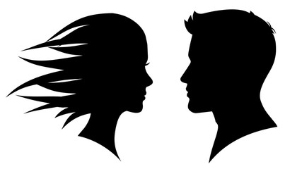 Man and woman silhouette face to face – for stock