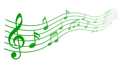 Green music notes background, musical notes – stock vector