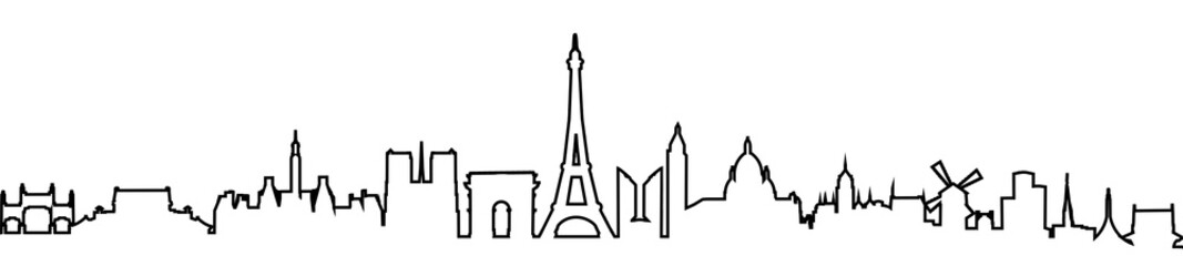 Paris silhouette one line - stock vector
