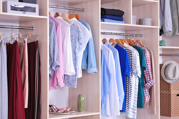 Large wardrobe with different clothes