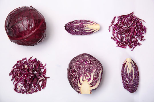 Composition with ripe red cabbage on white background