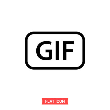 Gif vector icon, simple illustration for web or mobile app