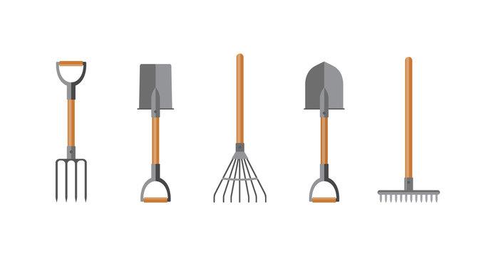 Vector illustration. Set of tools for gardening. Flat design.