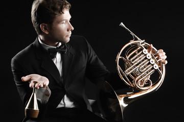 Poster Muziek French horn player classical musician portrait