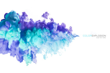 Color Explosion. Ink in water isolated on white background