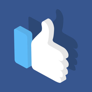 Thumbs up isometric icon. Like concept 3d. Vector stock illustration. Isolated on a blue background.