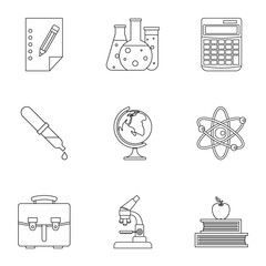 Study icons set. Outline illustration of 9 study vector icons for web