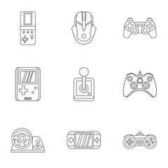 Game icons set. Outline illustration of 9 game vector icons for web