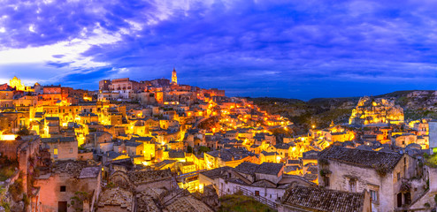 Matera, Basilicata, Italy: Overview of the old town - Sassi di Matera, European Capital of Culture, at dawn