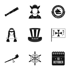 Pioneer icons set. Simple illustration of 9 pioneer vector icons for web